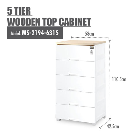 HOUZE 5 Tier Wooden Top Cabinet - HOUZE - The Homeware Superstore