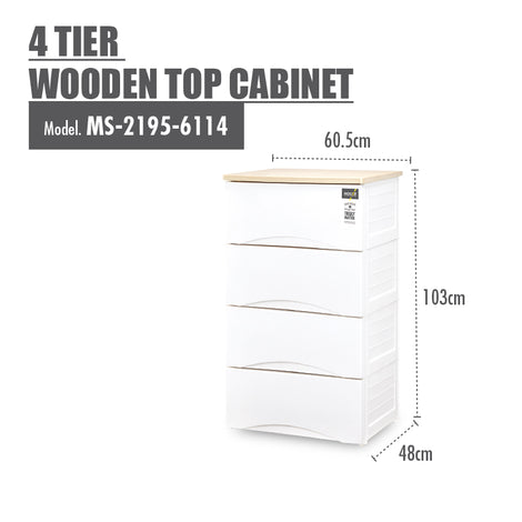 HOUZE 4 Tier Wooden Top Cabinet - HOUZE - The Homeware Superstore