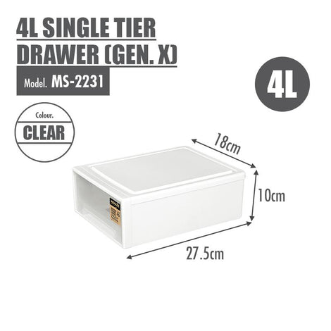 HOUZE 4L Single Tier Drawer (Gen. X) (Dim: 27.5x18x10cm)