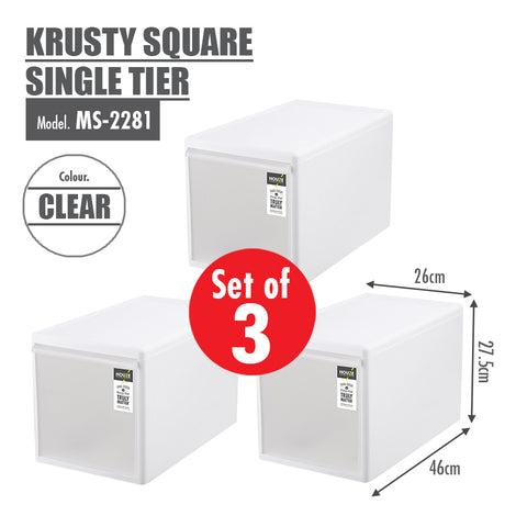 [SET OF 3] HOUZE Krusty Square Single Tier (Dim: 26x46x27cm) - HOUZE - The Homeware Superstore
