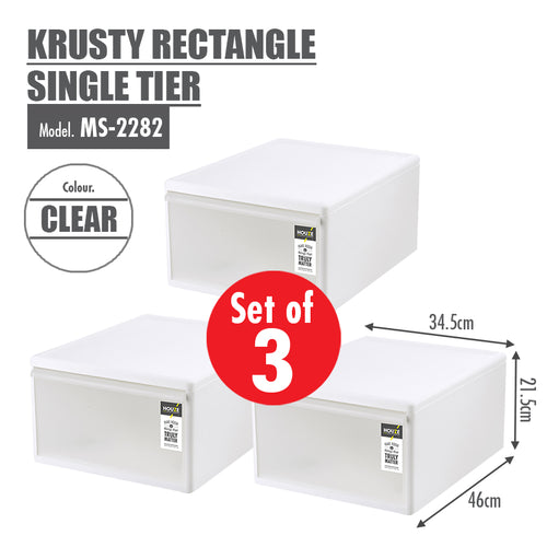 [SET OF 3] HOUZE Krusty Rectangle Single Tier (Dim: 34x46x21cm) - HOUZE - The Homeware Superstore