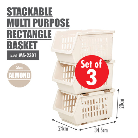 [SET OF 3] HOUZE Stackable Multi Purpose Rectangle Basket (Almond) - HOUZE - The Homeware Superstore