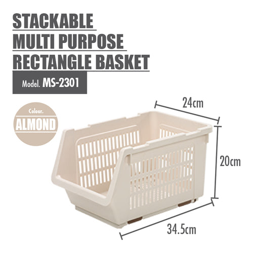 HOUZE Stackable Multi Purpose Rectangle Basket (Almond) - HOUZE - The Homeware Superstore