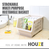 [SET OF 3] HOUZE Stackable Multi Purpose Rectangle Basket (White) - HOUZE - The Homeware Superstore