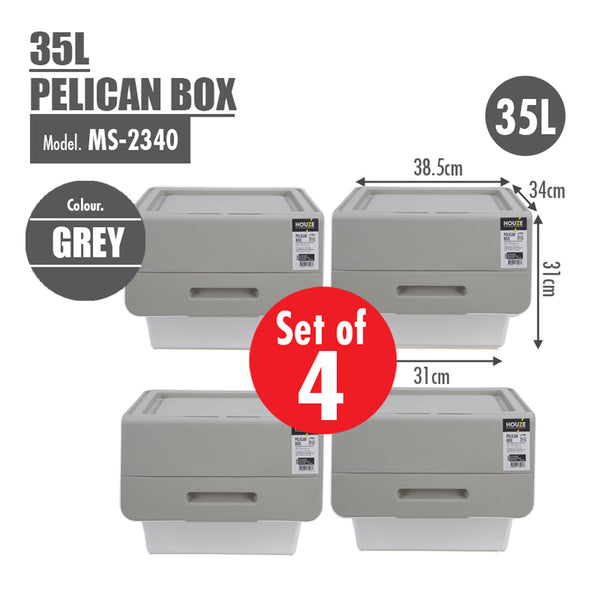 [SET OF 4] HOUZE 35L Pelican Box - Grey