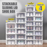 HOUZE Sliding Lid 'Ladies' Shoe Box (Pack of 4) - HOUZE - The Homeware Superstore