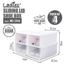 HOUZE Sliding Lid 'Ladies' Shoe Box (Pack of 4)