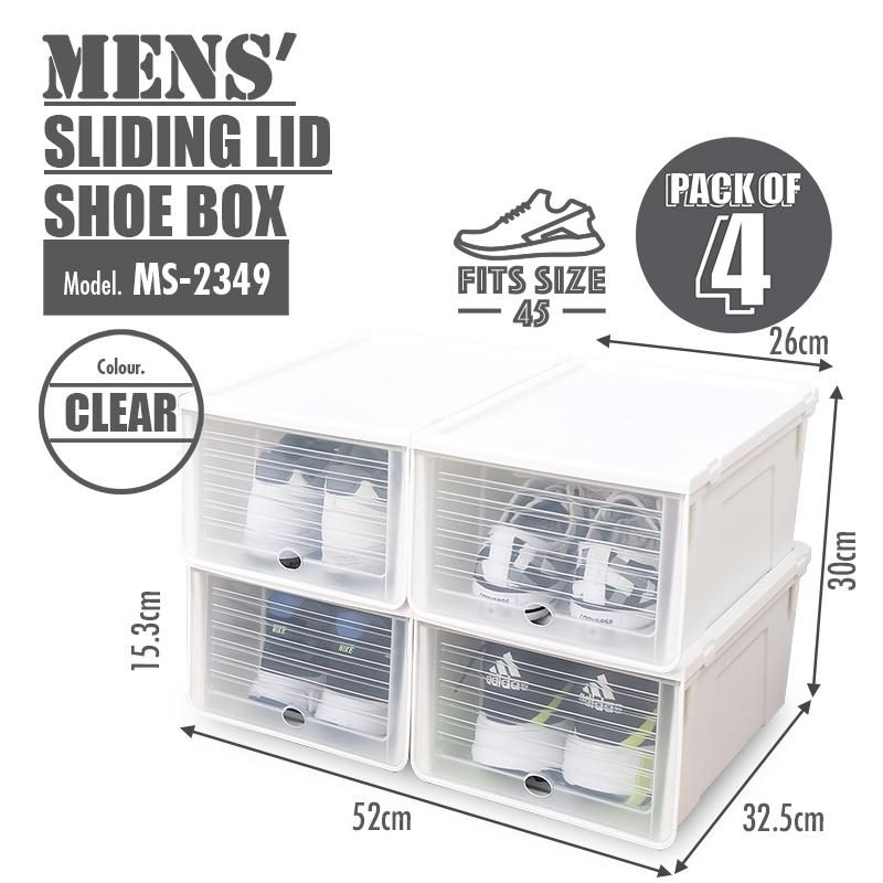 HOUZE Sliding Lid 'Mens' Shoe Box (Pack of 4) - HOUZE - The Homeware Superstore