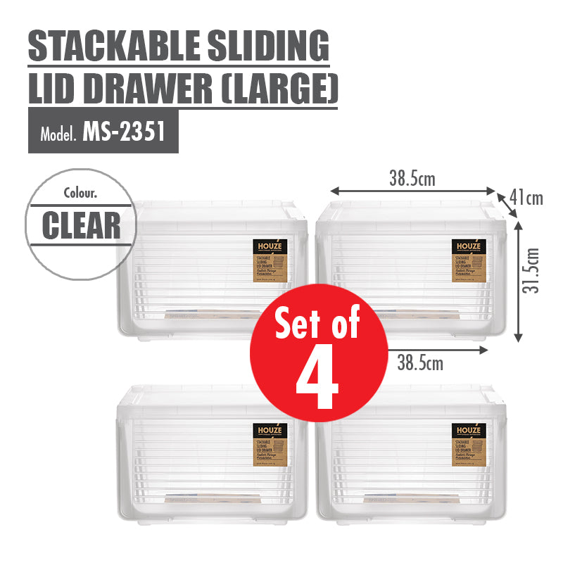 [Set of 4] HOUZE Stackable Sliding Lid Drawer (Large) - HOUZE - The Homeware Superstore