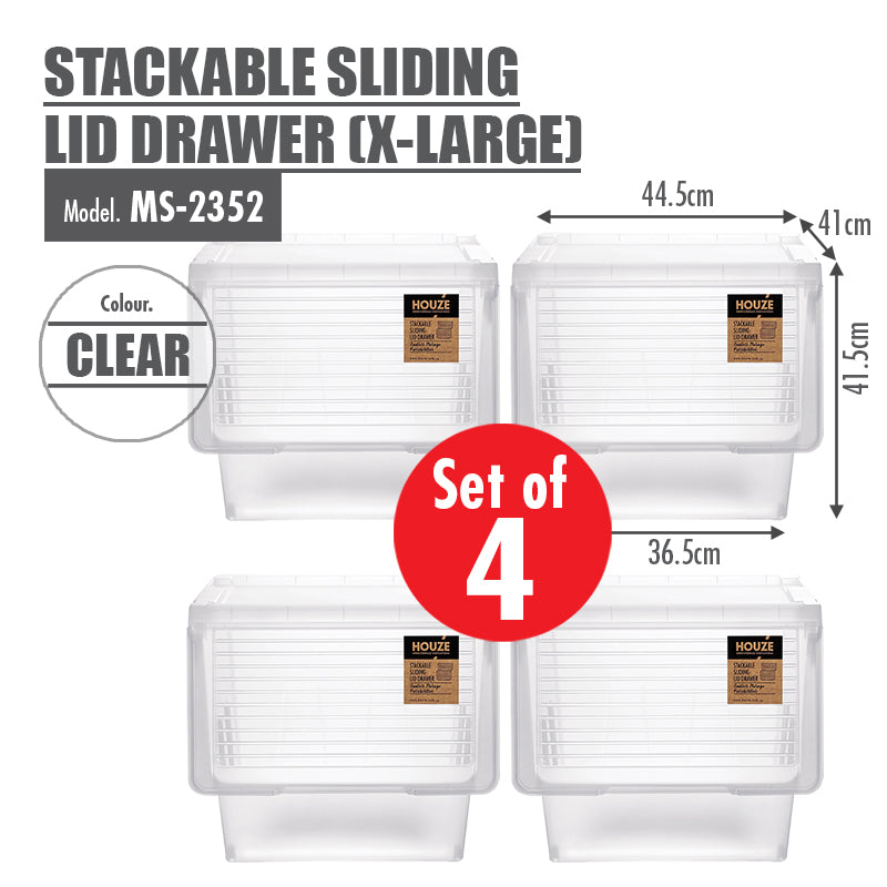 [Set of 4] HOUZE Stackable Sliding Lid Drawer (X-Large) - HOUZE - The Homeware Superstore