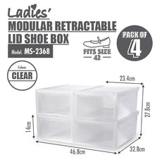 [BUY 3 FREE 1] HOUZE Modular Retractable Lid 'Ladies' Shoe Box (Pack of 4)