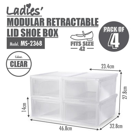 [BUY 2 FREE 1] HOUZE Modular Retractable Lid 'Ladies' Shoe Box (Pack of 4)
