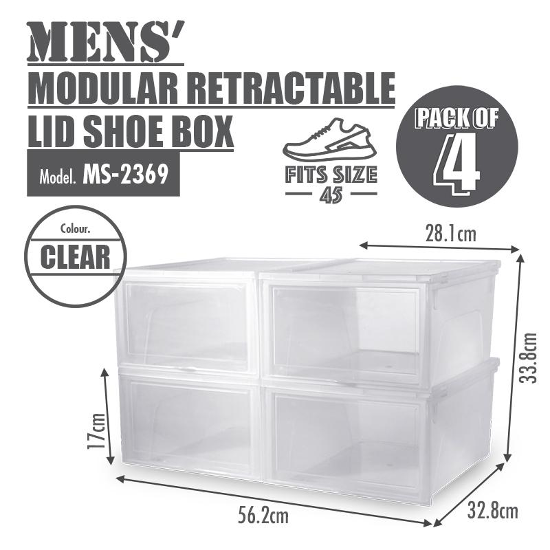 HOUZE Modular Retractable Lid 'Mens' Shoe Box (Pack of 4) - HOUZE - The Homeware Superstore