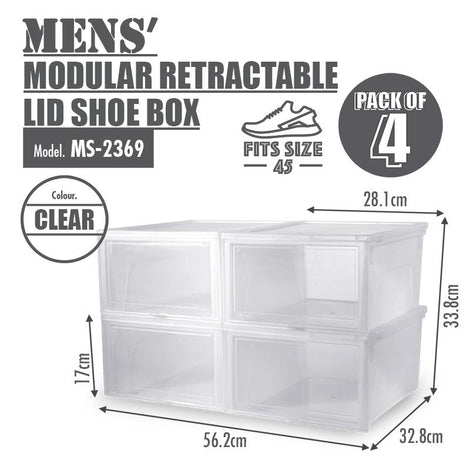 [BUY 2 FREE 1] HOUZE Modular Retractable Lid 'Mens' Shoe Box (Pack of 4)