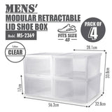 [Buy 3 FREE 1] HOUZE - Modular Retractable Lid 'Mens' Shoe Box (Pack of 4) - HOUZE - The Homeware Superstore