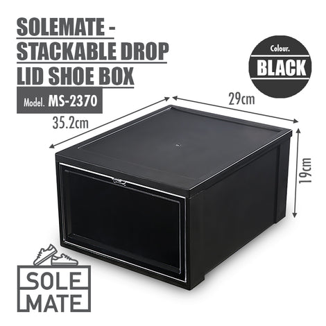 SoleMate - Stackable Drop Lid Shoe Box - Fits: Size 45 (Pack of 2) - Black - HOUZE - The Homeware Superstore