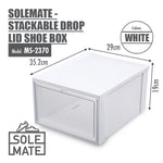 SoleMate - Stackable Drop Lid Shoe Box - Fits: Size 45 (Pack of 2) - HOUZE - The Homeware Superstore