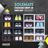 SoleMate - Stackable Drop Lid Shoe White Box - Fits: Size 45 (Pack of 2) - White - HOUZE - The Homeware Superstore