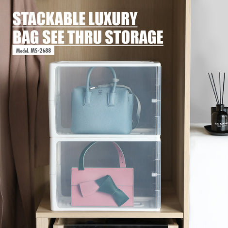 [Set of 2] HOUZE - Stackable Luxury Bag See Thru Storage (Dim: 38x18x25.5cm) - HOUZE - The Homeware Superstore