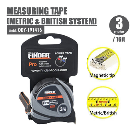 FINDER - Measuring Tape (Metric & British System) (3 Meter) - HOUZE - The Homeware Superstore