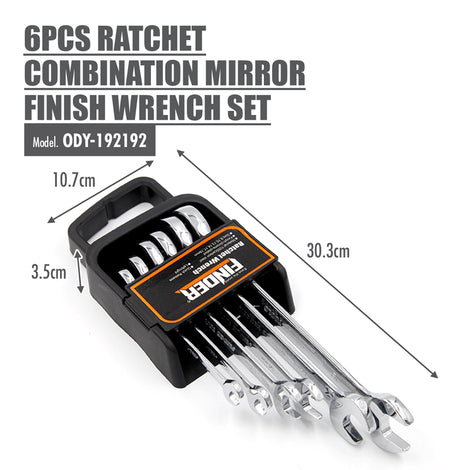 FINDER - 6pcs Ratchet Combination Mirror Finish Wrench Set - HOUZE - The Homeware Superstore