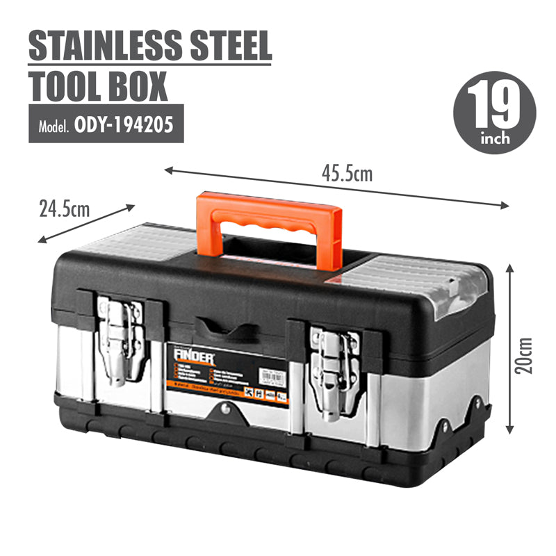 FINDER - Stainless Steel Tool Box (19 Inch) - HOUZE - The Homeware Superstore