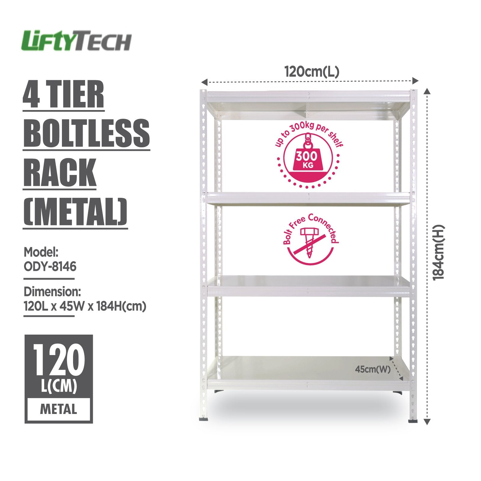 Lifty Tech 4 Tier Boltless Rack - 120x45x184cm - HOUZE - The Homeware Superstore