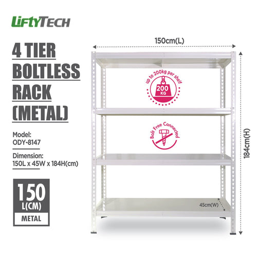 Lifty Tech 4 Tier Boltless Rack - 150x45x184cm - HOUZE - The Homeware Superstore