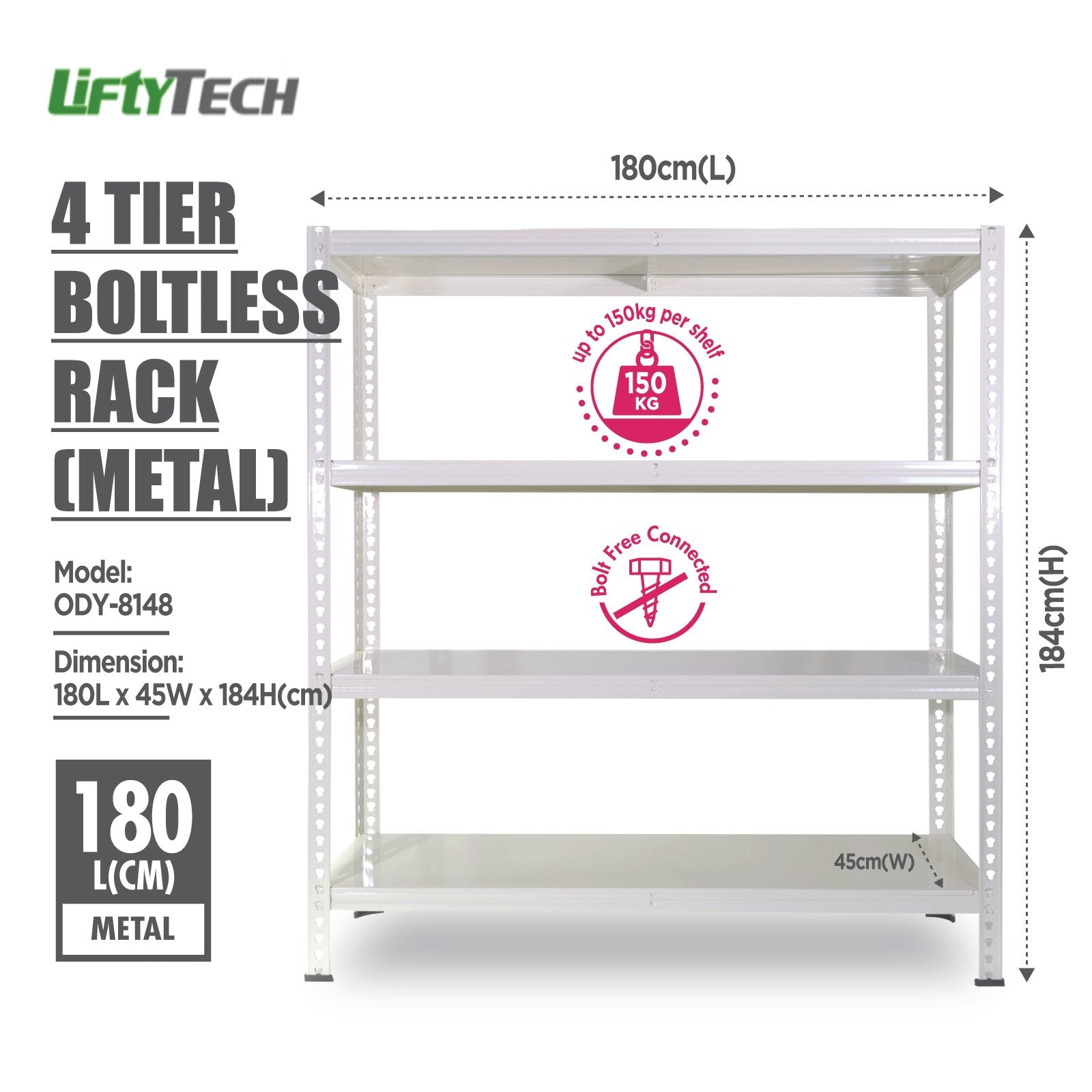 Lifty Tech 4 Tier Boltless Rack - 180x45x184cm - HOUZE - The Homeware Superstore