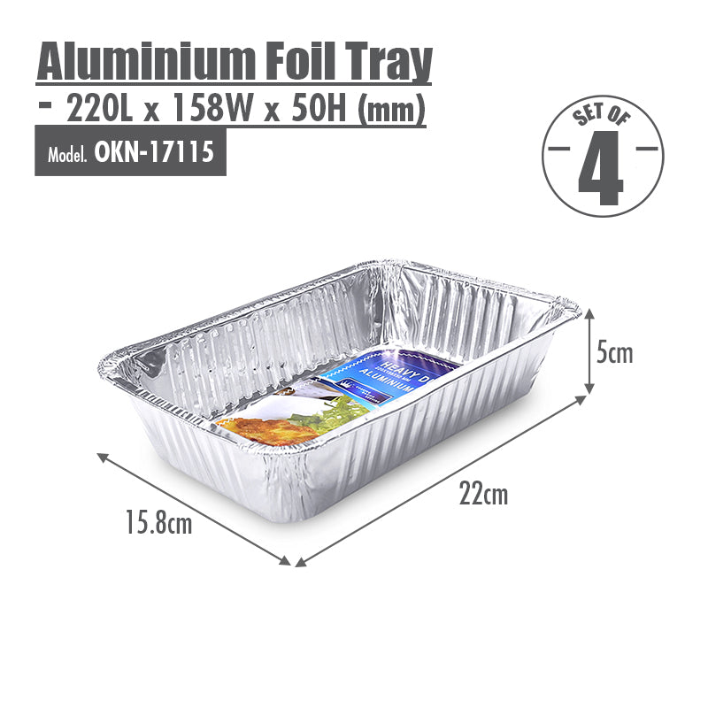 Aluminium Foil Tray (Set of 4) - 220x158x50mm - HOUZE - The Homeware Superstore