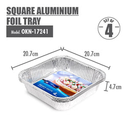 Square Aluminium Foil Tray (Set of 4) - 207x207x47mm - HOUZE - The Homeware Superstore
