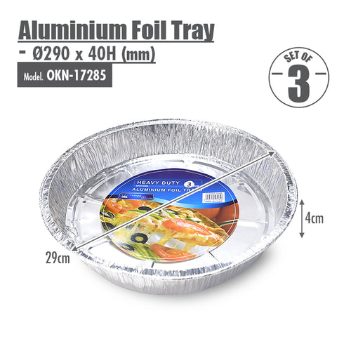 Round Aluminium Foil Tray (Set of 3) - Ø290x40mm - HOUZE - The Homeware Superstore