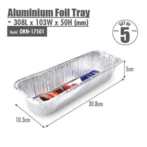 Aluminium Foil Tray (Set of 5) - 308x103x50mm - HOUZE - The Homeware Superstore