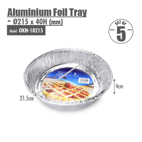 Round Aluminium Foil Tray (Set of 5) - Ø215x40mm - HOUZE - The Homeware Superstore