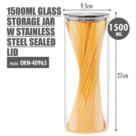 1500ml Glass Storage Jar with Stainless Steel Sealed Lid (Dia: 9.5cm) - HOUZE - The Homeware Superstore