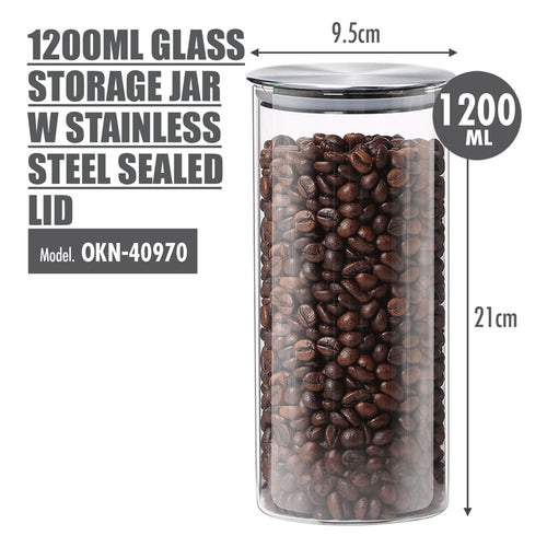 1200ml Glass Storage Jar with Stainless Steel Lid (Dia: 9.5cm) - HOUZE - The Homeware Superstore