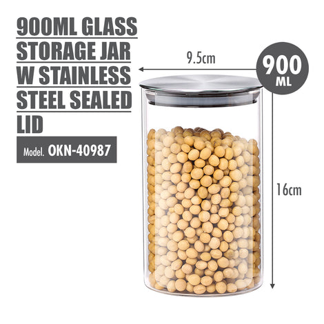 900ml Glass Storage Jar with Stainless Steel Sealed Lid (Dia: 9.5cm) - HOUZE - The Homeware Superstore