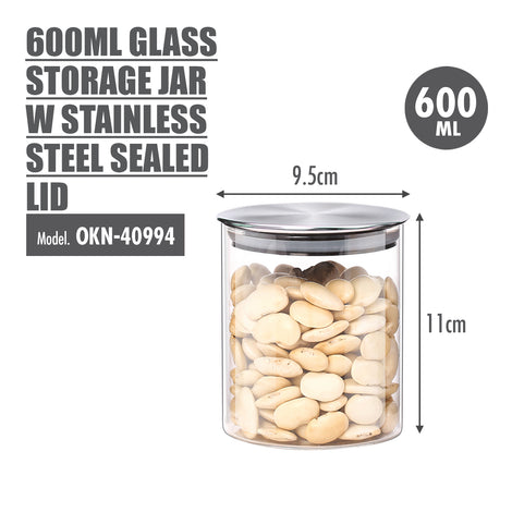 600ml Glass Storage Jar with Stainless Steel Sealed Lid (Dia: 9.5cm) - HOUZE - The Homeware Superstore