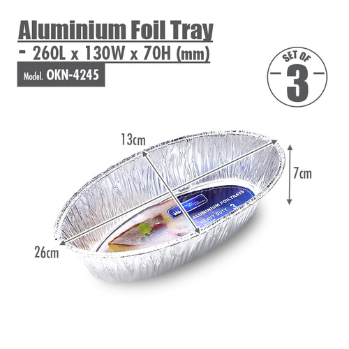 Oval Aluminium Foil Roasting Pan (Set of 3) - 260x130x70mm - HOUZE - The Homeware Superstore