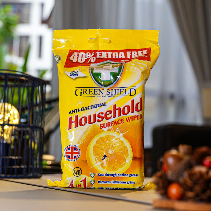 Greenshield Anti-Bacterial Household Wipes 70's - HOUZE - The Homeware Superstore