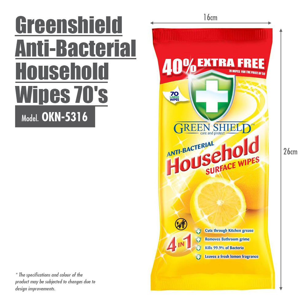 Greenshield Anti-Bacterial Household Wipes 70's