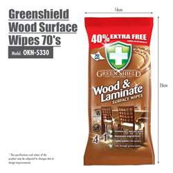 Greenshield Wood Surface Wipes 70's
