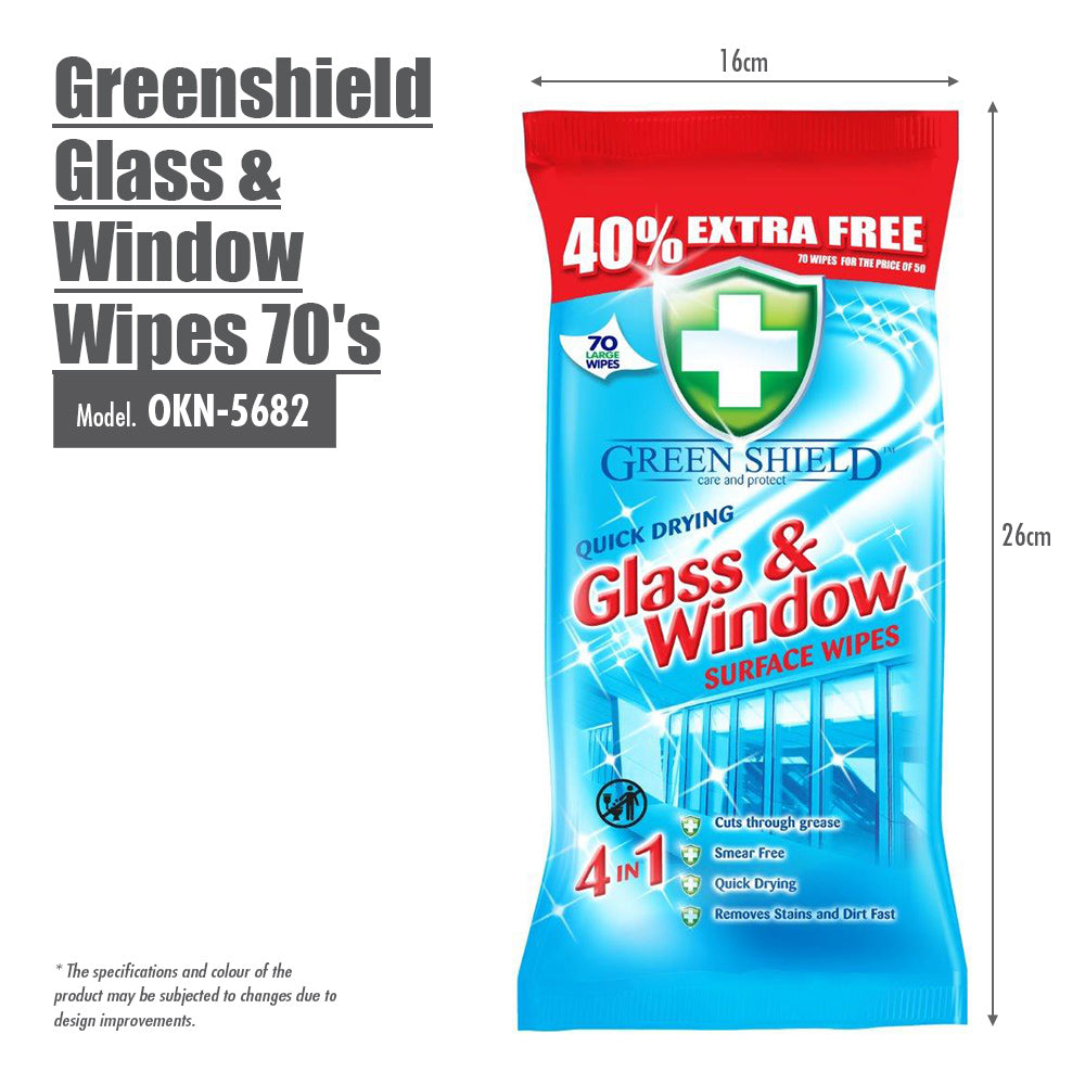 Greenshield Glass & Window Wipes 70's