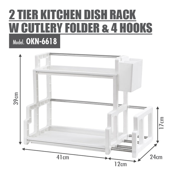 2 Tier Kitchen Dish Rack with Cutlery Holder, 4 Hooks and Chopping Board Holder - HOUZE - The Homeware Superstore