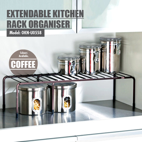 Extendable Kitchen Rack Organiser (Coffee) - HOUZE - The Homeware Superstore