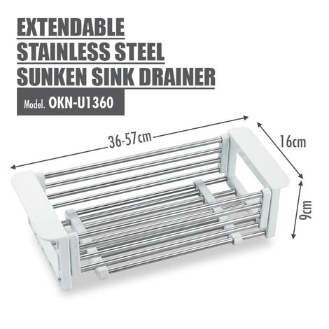 Extendable Stainless Steel Sunken Sink Drainer - HOUZE - The Homeware Superstore