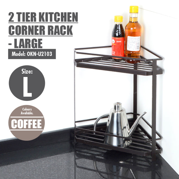 2 Tier Kitchen Corner Rack - Large - HOUZE - The Homeware Superstore