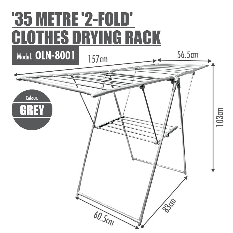 '35 Metre '2-Fold' Clothes Drying Airer Rack (Grey) - HOUZE - The Homeware Superstore