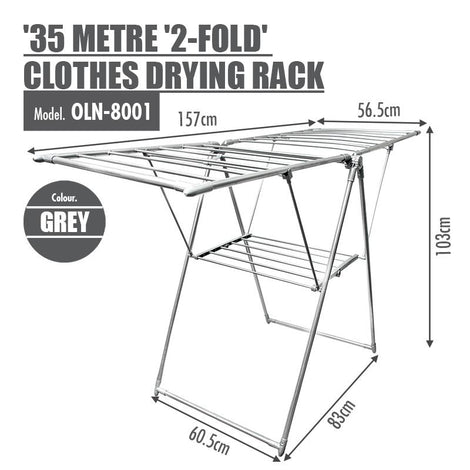 35 Metre '2-Fold' Clothes Drying Airer Rack (Grey) - HOUZE - The Homeware Superstore