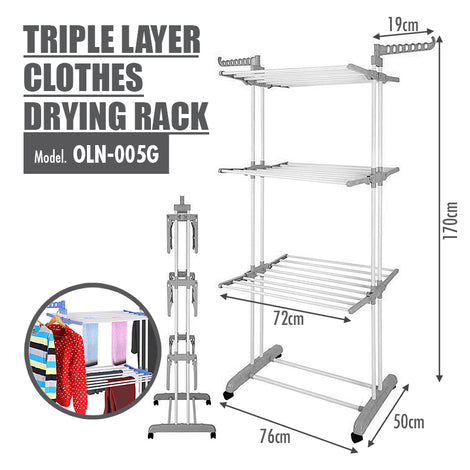 Triple Layer Foldable Clothes Drying Rack | 3 Tier Airer (Grey & White) - HOUZE - The Homeware Superstore
